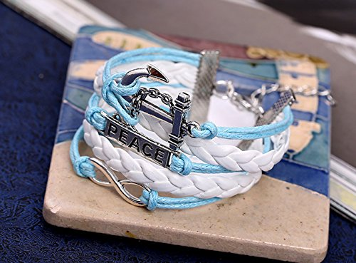 [Sky Blue And Pure White Braided Figure Eight Luky Boat Anchor Adjustable Peace Theme Bracelet] (Hindu Bride Costume)