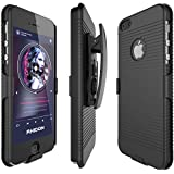 iPhone 5S Case, Rhidon® Super Slim Hard Shell Layer Holster Open-Face Sport Case with Holster Kickstand and Locking Belt Swivel Clip for Apple iPhone 5 5S SE (Black)