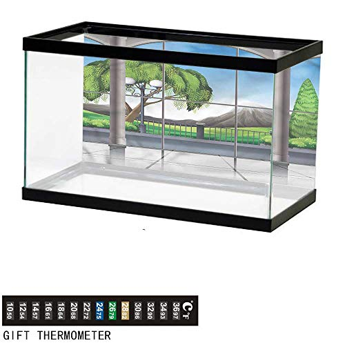 bybyhome Fish Tank Backdrop Landscape,Window View Mountains,Aquarium Background,48
