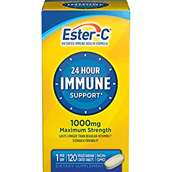 Ester-C Vitamin C 1000 mg Coated Tablets (Pack of 120), Vitamin C Supplement, for Immune System Support(1), Stomach-Friendly, Gluten-Free