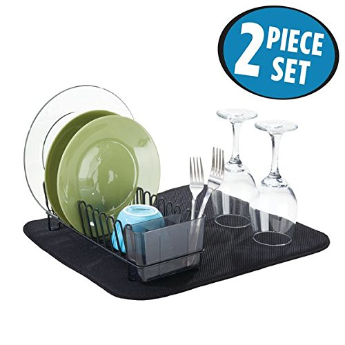 mDesign Compact Kitchen Dish Drainer Rack and Drying Mat for