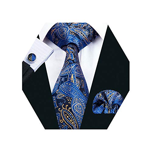 Barry.Wang Men Tie Set Solid Silk Blue Paisley Necktie Pocket Square Cufflinks Extra Long Tie ()