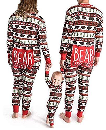 Family Matching Christmas Pajamas Long Sleeve Plaid Jumpsuit Romper Xmas Pajamas Sleepwear Set (Bear Man, XL)