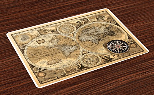 - Ambesonne Wanderlust Place Mats Set of 4, Old Map 1626 A and Accvrat Map of World Historical Manuscript, Washable Fabric Placemats for Dining Room Kitchen Table Decor, Brown Black Pale Brown