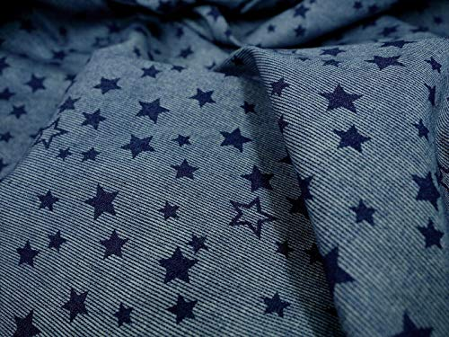 (Amornphan 60 Inches Navy Stars Blue Canvas Printed Cotton Polyester Design Decorative Denim Fabric Stripes Stretch for Jean Upholstery Sofa by The Yard)
