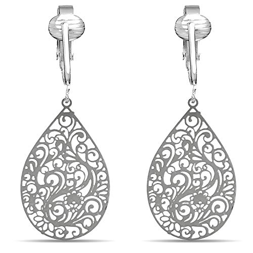 (Lovely Victorian Filigree Clip On Earrings for Women Clip-ons, Lightweight Teardrop Leaf Dangle (Silver Filigree))