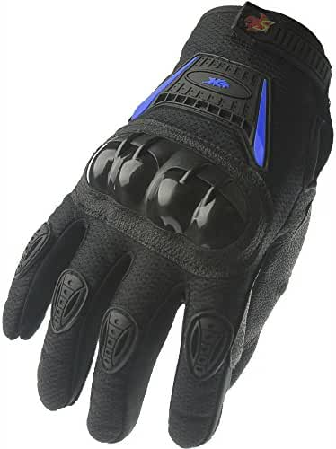 Street Bike Full Finger Motorcycle Gloves 09 (Large, black/blue)