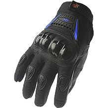 Guantes de dedo completo de motocicleta y bicicleta de calle 09, MED, Negro/Azul