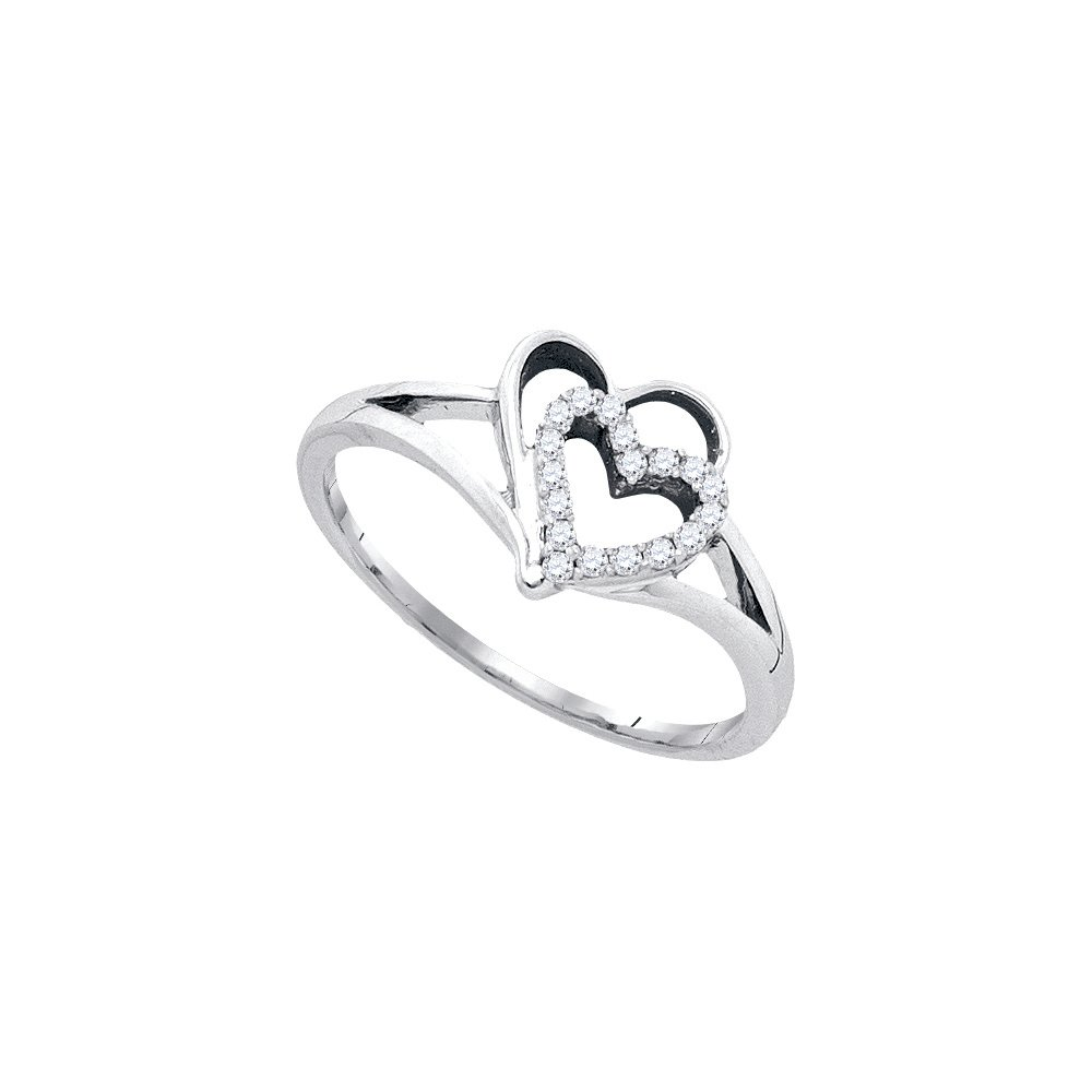 10kt White Gold Womens Round Diamond Double Nested Heart Love Ring 1/8 Cttw (I2-I3 clarity; J-K color)