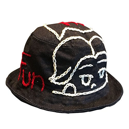 95a3e026412a8 Design by Nai Happy Jeans Bucket Hat Handmade embroidery stitching Japanese  Cartoon Nice Hat