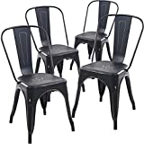 Poly and Bark Trattoria Side Chair in Distredded Black (Set of 4)