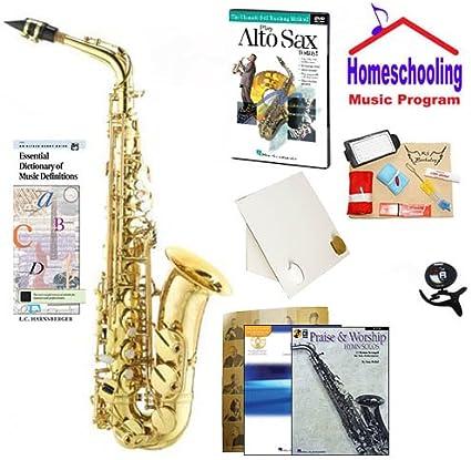 homeschool música – Aprende a tocar el saxofón Alto Pack (Praise & Worship música libro Bundle) – Includes Student W/caso saxofón Alto, DVD, libros y todo incluido aprendizaje Essentials: Amazon.es: Instrumentos musicales