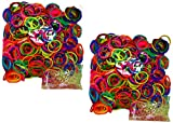 BlueDot Trading 1200-Piece Do-It-Yourself Bracelet Kit Refill Pack, Includes Rubber Band and S-Clips for Loom Art/Kids Craft with Rainbow, Neon