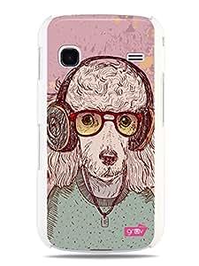 GRÜV Premium Case - 'Retro Funky Urban Music Headphones Dog Anthromorphic' Design - Best Quality Designer Print on White Hard Cover - for Samsung Galaxy Gio S5660