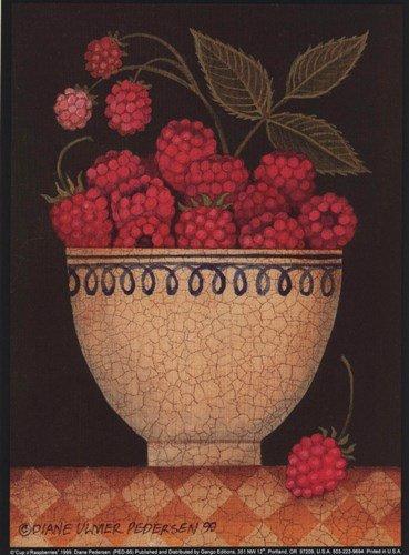 Cup O' Raspberries by Diane Ulmer Pedersen - 5.25x7.25 Inches - Art Print Poster