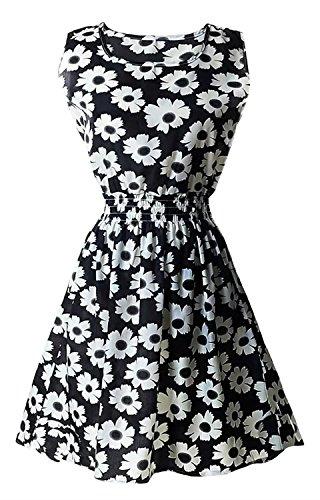 Réservoir Betusline Sans Manches Femmes Floral Mousseline Imprimée Mignonne Robe De Sundress Floral Noir