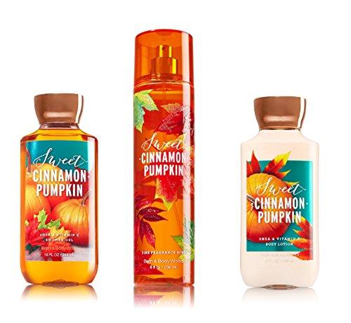 Bath & Body Works ~ Signature Collection ~ Sweet Cinnamon Pumpkin ~ Shower Gel ~ Fine Fragrance Mist & Body Lotion ~ Trio Gift (Pumpkin Gift)
