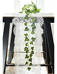 DOTHOUSE 14 X120 Inch White Classy Lace Table Runner,Rustic Chic Wedding  Reception Table Runner/Chair Sash,Party Decoration,Bridal Shower Décor