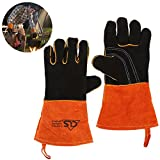 Oven Grill BBQ Gloves, Extreme Heat Resistant Extra Long Cowhide Leather Fireplace, Barbecue Cooking Baking, Welding Work Hand Mitts