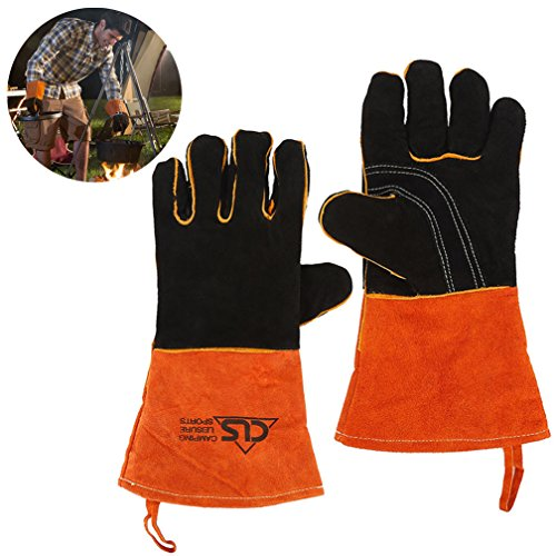 Oven Grill BBQ Gloves, Extreme Heat Resistant Extra Long Cowhide Leather Fireplace, Barbecue Cooking Baking, Welding Work Hand Mitts by Qleng