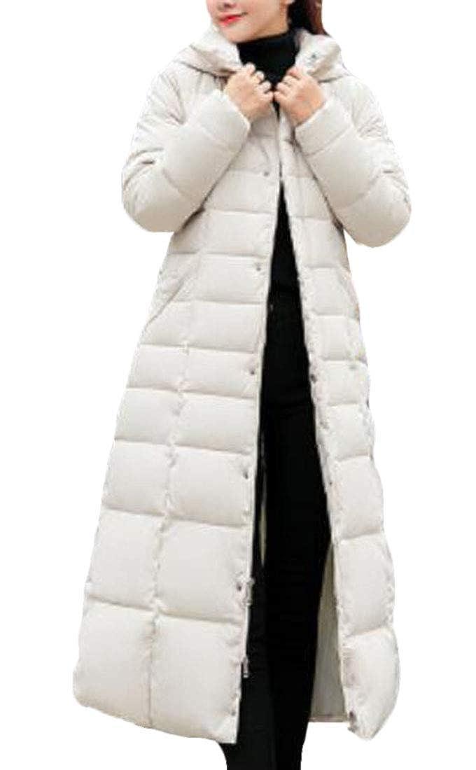 Two Domple Women FauxFur Trim Slim Solid Belted Long Puffer Coat