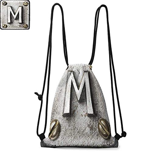 Letter M Made of polyester fabric Zinc Iron Steel Alphabet Typeset with Grunge Scratched Texture Industrial Image Waterproof drawstring backpack W17.3 x L13.4 Inch Silver Gold ()