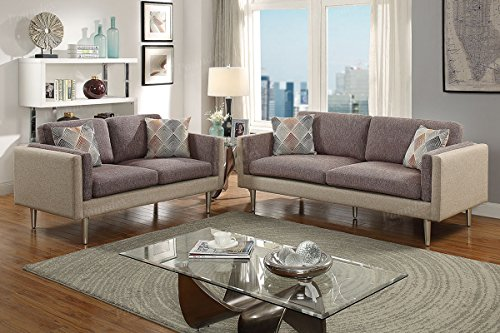 Poundex F6556 Bobkona Alwin Sofa & Loveseat, Coffee - Ash Living Room Loveseat