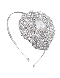 Ever Faith Wedding Silver-Tone Flower Leaf Teardrop Clear Austrian Crystal Headband Crown A08921-1 A08921-1