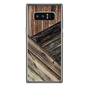 samsung Galaxy Note 8 Transparent Edge Rustic Barn Wood aged 3 Tone Print - Metal Inforced Light Weight Phone Cover