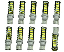 Cutequeen 10pcs LED Car Lights Bulb White T15 T10 68smd 3014 800 Lumens (Pack of 10)