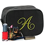 Personalized Waffle Makeup Bag - Monogrammed Cosmetic Make Up Travel Train Case - Custom Embroidered for Free (Black)