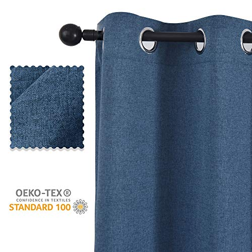 Exquisite Bedroom - ALLBRIGHT Premium Faux Linen Darkening Privacy Grommet Curtains, Soft Exquisite Material Curtain Panels for Bedroom/Studyroom/Sliding Door, Blue, 52''W x 63''H | 2 Pieces