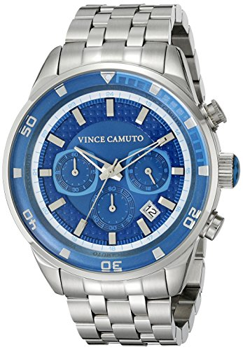 Vince Camuto Men's VC/1044LBSV The Admiral Chronograph Multi-Function Blue Dial Silver-Tone Bracelet Watch