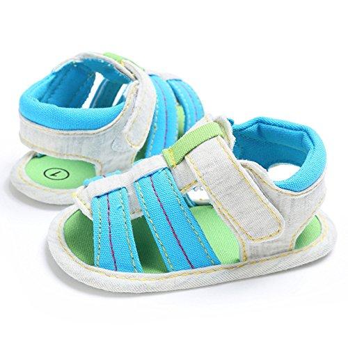 Sandalías bebé Sandalías para bebé que aprende caminar 0-18 meses Sandalías de lona cómodo para bebé Luerme Azul de cielo