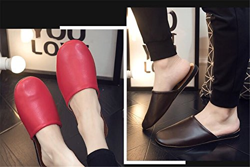 Women PU Leather and for W Summer Spring Autumn Floor Men Slippers Wooden Rouge Mute TELLW tqw7IcFt