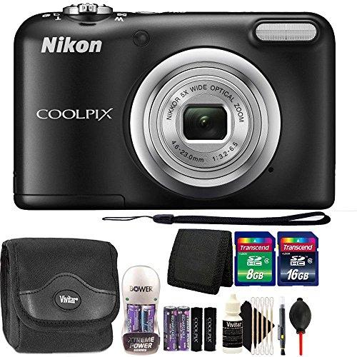 Nikon COOLPIX A10 16.1 MP Compact Digital Camera (Black) with 24GB Accessory Kit