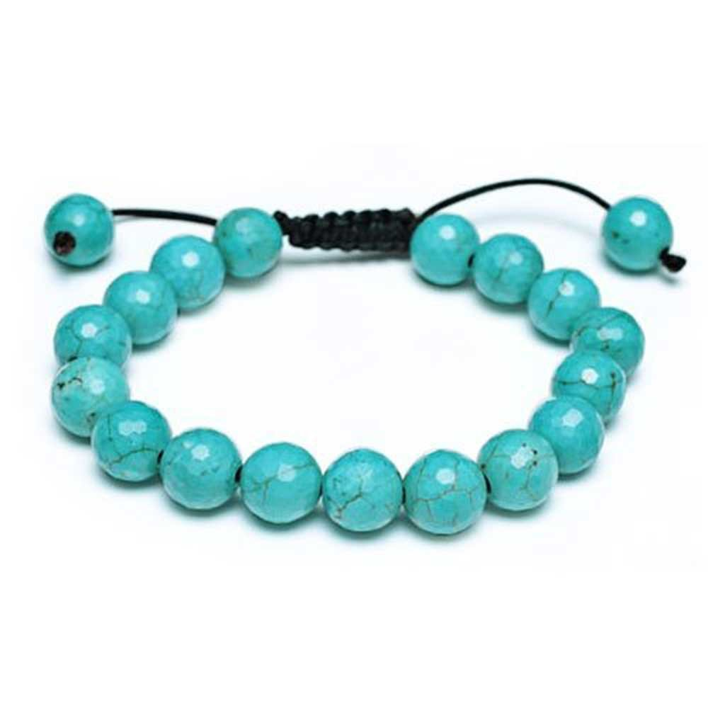 Shamballa Inspired Bracelet Enhanced Turquoise 11mm Round Bead Ball Adjustable 7 to 9.5 Inch Bling Jewelry CB-BR12091R