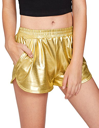 Price comparison product image SweatyRocks Women's Yoga Hot Shorts Shiny Metallic Pants Gold #2 XS