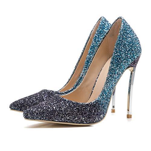 Gran Hoesczs Estrenar Banquet Tamaño Thin Color Gradient A 12 Shoes Heels Women De Bling High 33 Upper 45 Cm Blue Bombas wq4CSqt
