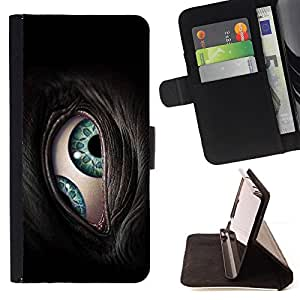 DEVIL CASE - FOR Apple Iphone 6 - Eye Lids Close Green Turquoise Animal Furry Grey - Style PU Leather Case Wallet Flip Stand Flap Closure Cover