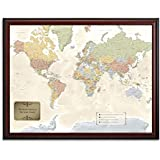 Jessen Media Personalized World Traveler Framed Map Set with Pins - Custom Engraved Crest Up to 50 Characters