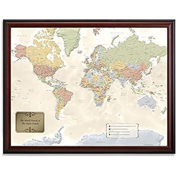 Amazon.com: Jessen Media Personalized World Traveler Framed Map Set ...