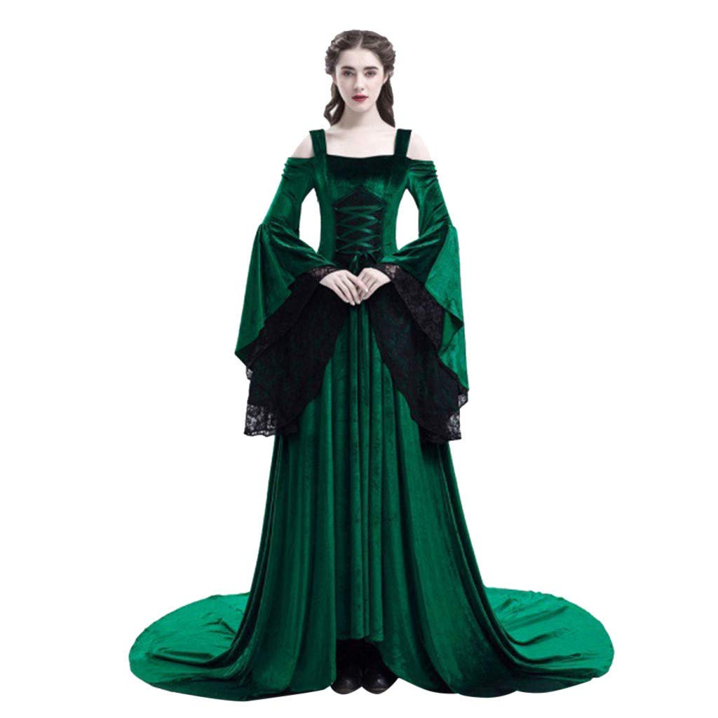 Sunyastor Womens Medieval Maxi Dress Renaissance Princess Girls Flared Sleeve Costume Gothic Vintage Victorian Party Gown Green