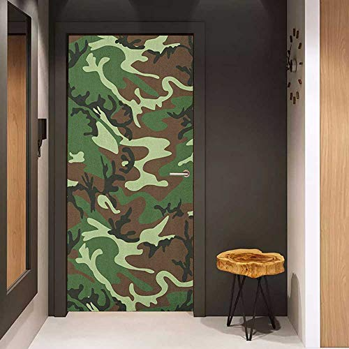 (Door Sticker Mural Camo Classical American Commando Uniform Inspired Pattern Forest Tile WallStickers W31 x H79 Forest Green Pale Green Brown)