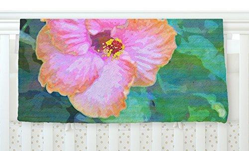 KESS InHouse Sylvia Cook Hibiscus Green Pink Fleece Baby Blanket 40 x 30 [並行輸入品]   B077YYYW57