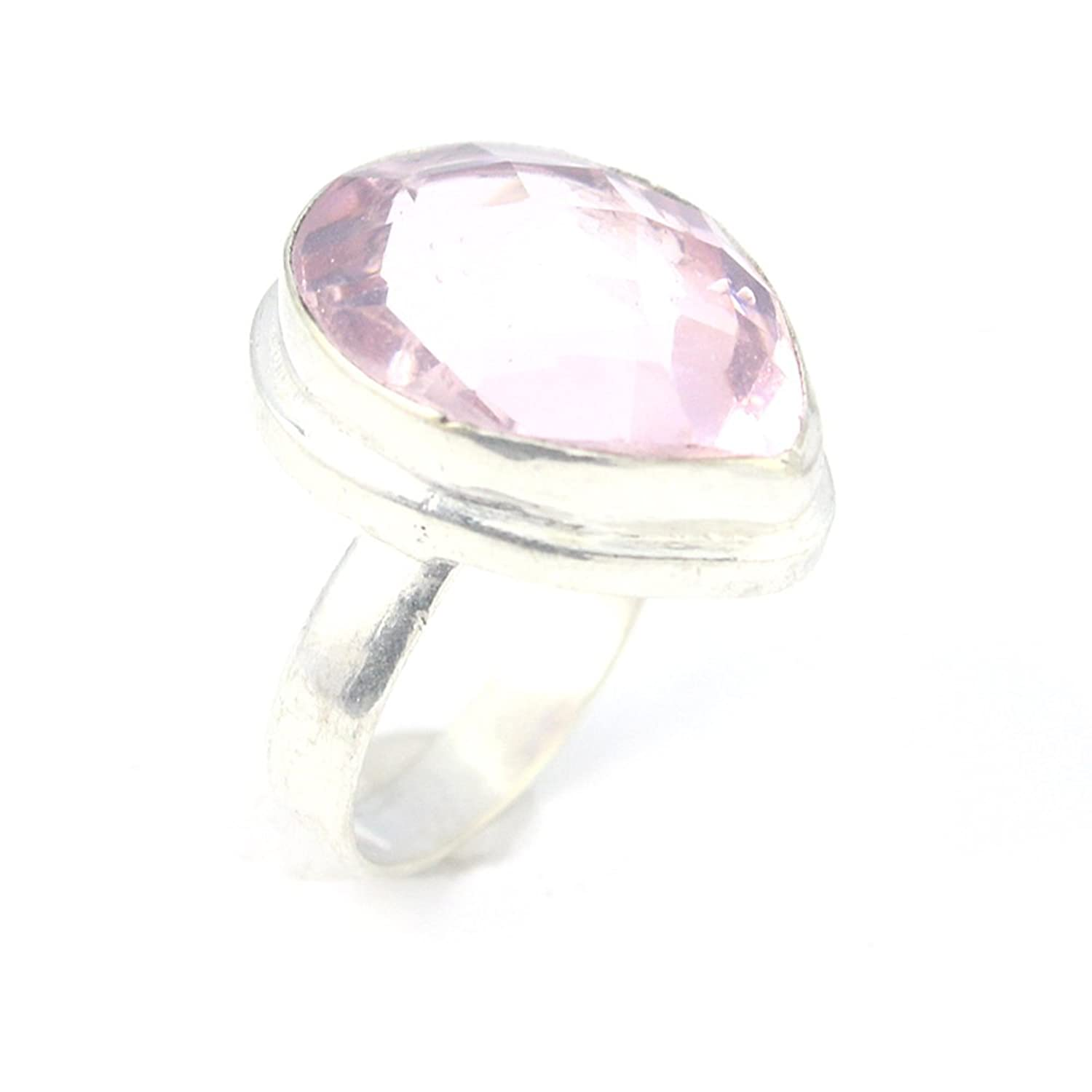 HIGH FINISH PINK TOPAZ FASHION JEWELRY .925 SILVER PLATED RING 8 S24037