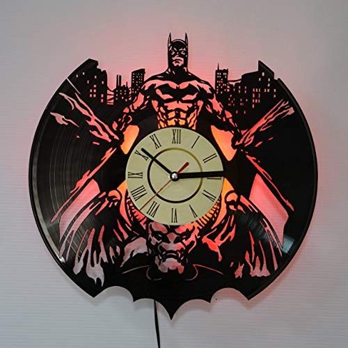(BATMAN Red LED Backlight Vinyl Wall Clock Night Atmosphere Light Lamp Creative Classic Cool Living Room Interior Decor Led Time Clock With Red Light)