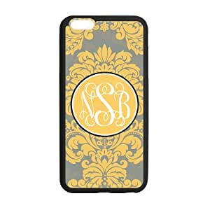 Deep Yellow Pattern In the Gray Background Circle White Monogram Retro Style Design Custom Luxury Cover Case with Best Silicon Rubber For Iphone 6 Plus