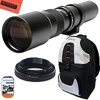 High-Power 500mm f/8 Manual Telephoto Lens & Deluxe SLR BackPack for Canon Digital EOS Rebel T1i, T2i, T3, T3i, T4i, T5, T5i, T6i, T6s, SL1, EOS60D, EOS70D, 50D, 40D, 30D, EOS 5D, EOS1D, EOS5D III, EOS 5Ds, EOS 6D, EOS 7D, EOS 7D Mark II Digital SLR Cameras