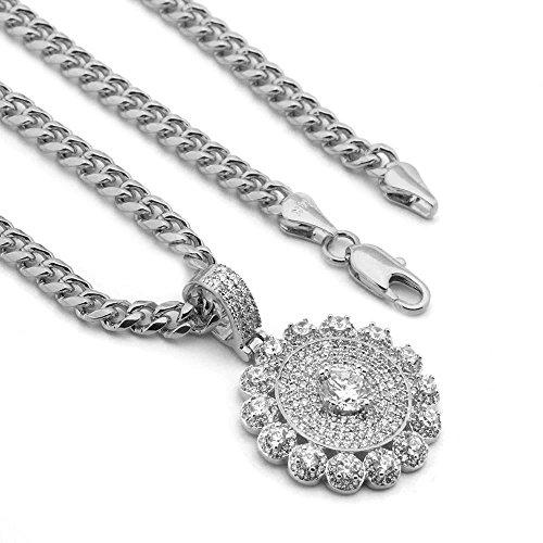Raonhazae Lab diamond Micro Pave MEDALLION Pendant w/Miami Cuban Chain (Silver)